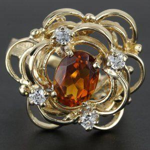 Vintage 14k Gold Flower Ring w/ Orange Gem & CZs